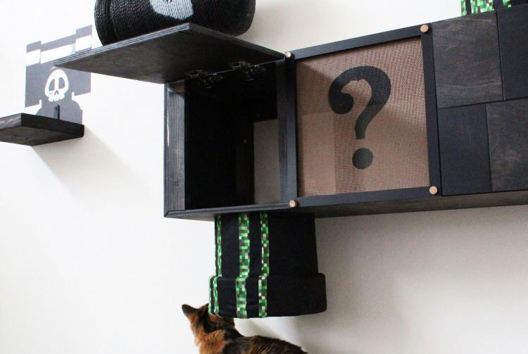 Mario Cat Playground - Wall Mounted Super Mario Bros Level For Cats