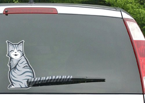Rear Window Wiper Cat Wagging Its Tail Sticker Decal